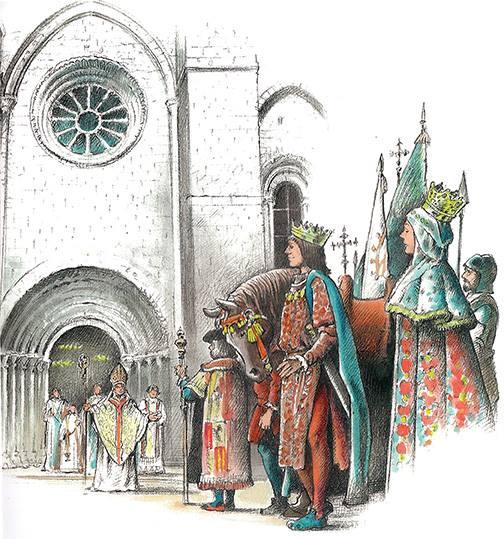 Reyes Catolicos ante la catedral de Sigüenza por Isidre Mones