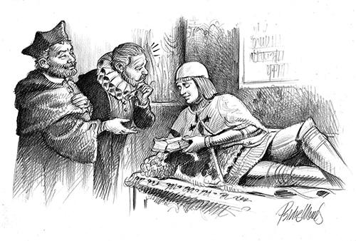 Cervantes visita la tumba del Doncel